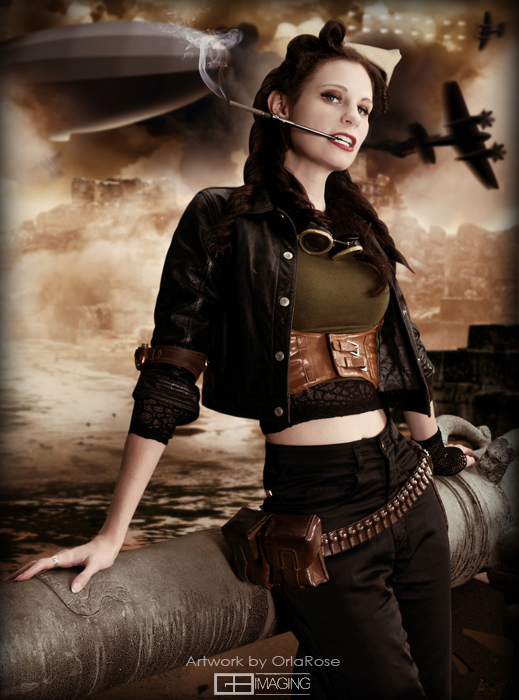 Dieselpunk woman, clothing includes leather jacket, pants, and cigarette holder