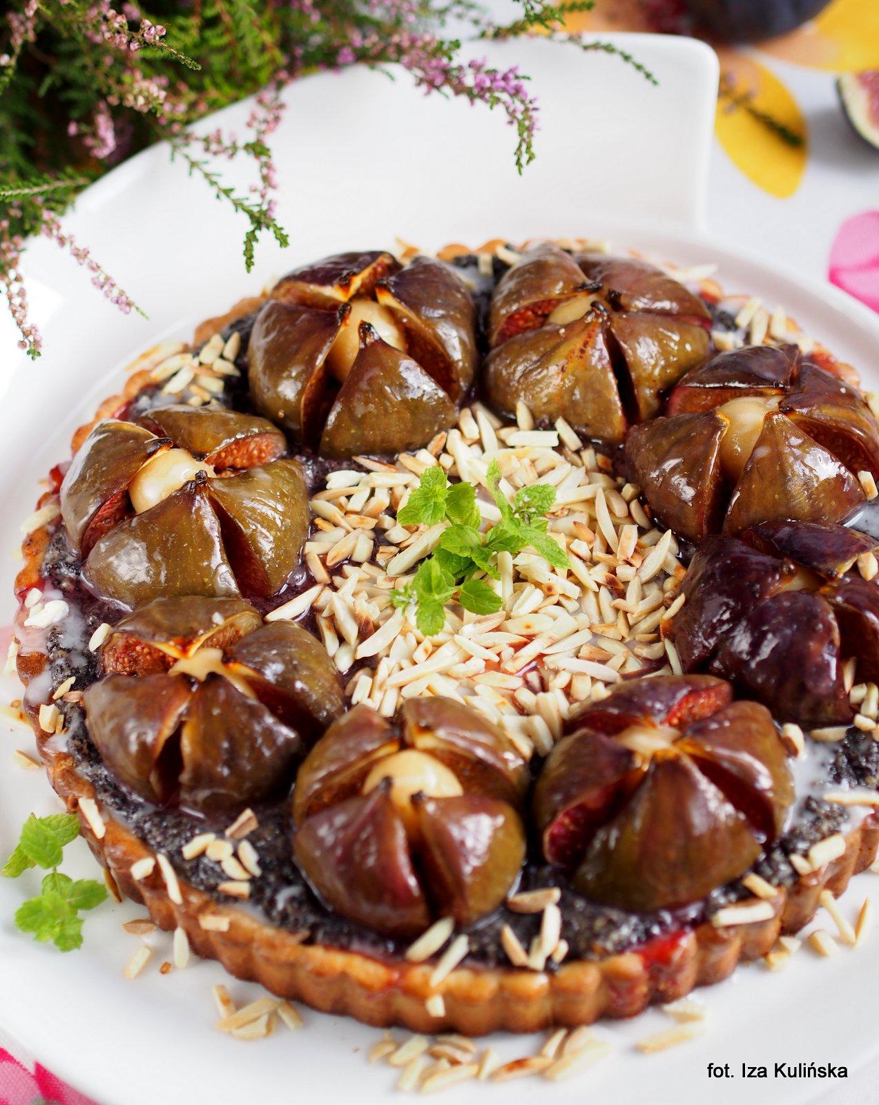 tarta makowa z figami, ciasto makowe, krucha tarta, kruche ciasto, figa z makiem, smaczna pyza