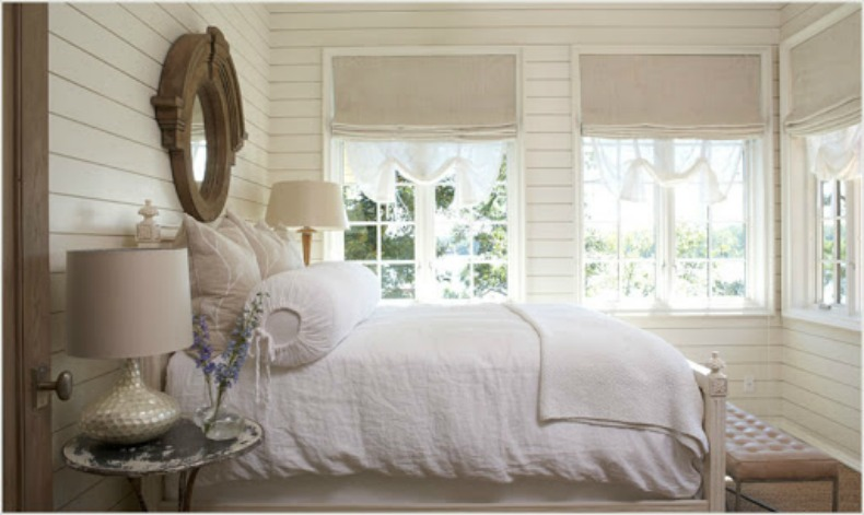 Coastal chic white bedroom