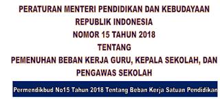 Permendikbud Nomor 15 Tahun 2018 Tentang Beban Kerja Guru, Kepala Sekolah, Pengawas