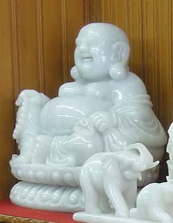 White Burmese jade Buddha