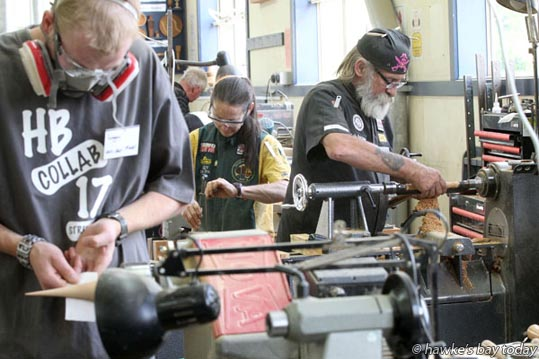 L-R: Logan van der Meer, Napier, Cindy Drozda, Erie, Colorado, USA, Colin Parkinson, Cambridge - Hawke's Bay Woodturning Collaboration, run by the Hawke's Bay Woodturners Guild, at Napier Boys' High School, Napier. photograph