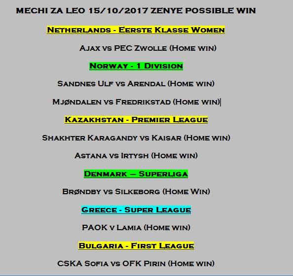 Ajax Vs Paok: MECHI ZA LEO 15/10/2017 ZENYE POSSIBLE WIN