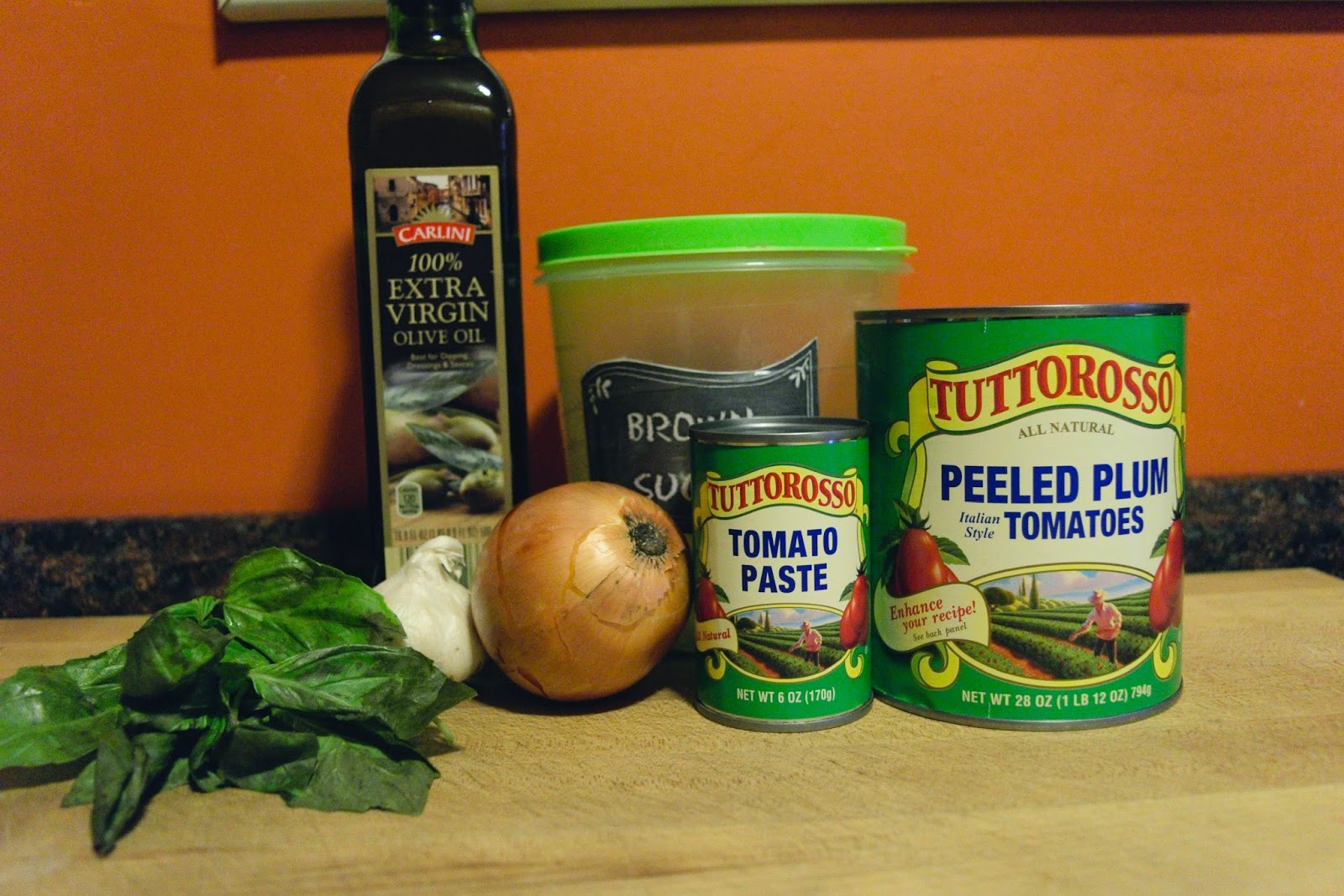 The ingredients needed to make the marinara sauce.