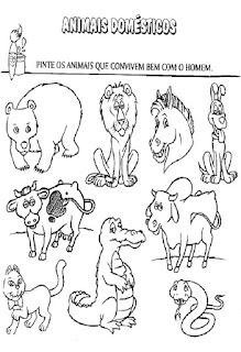 Atividades sobre animais domésticos e selvagens