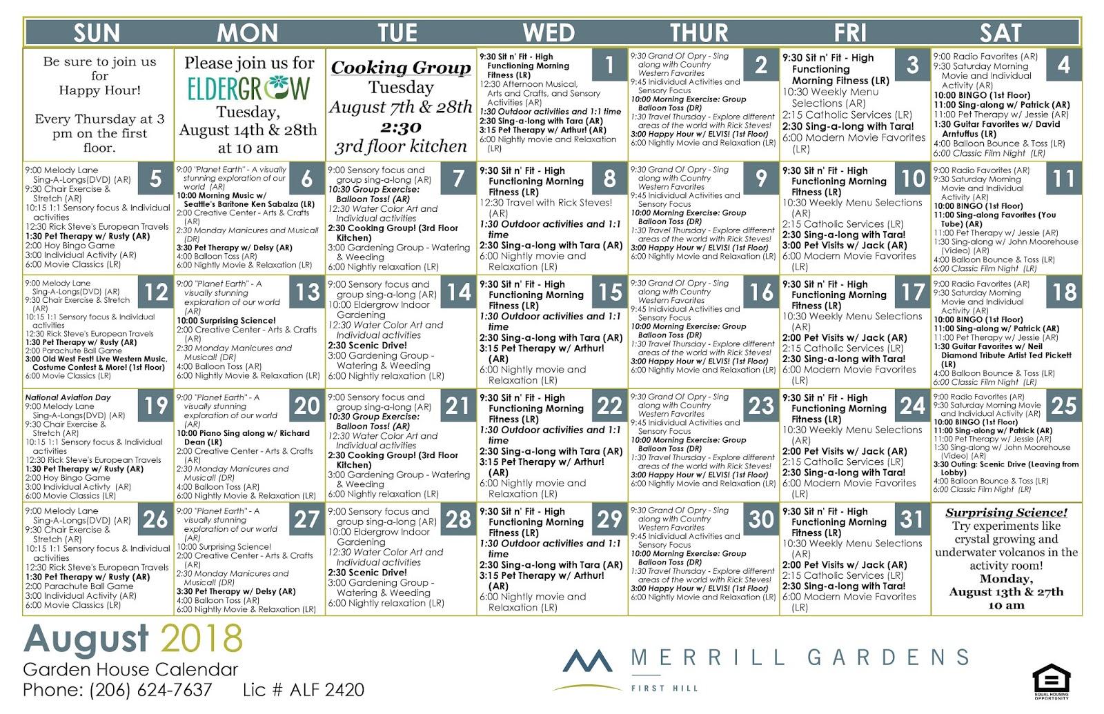 Merrill Gardens at First Hill: August Garden House Calendar