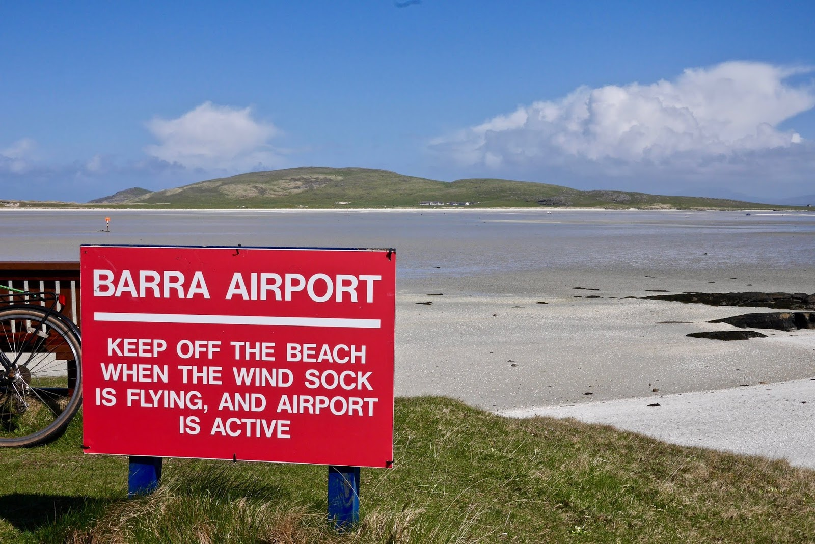 Barra Airport Beach , Almost Chic and Cal McTravels during their Scottish Island Hopping in the outer Hebrides