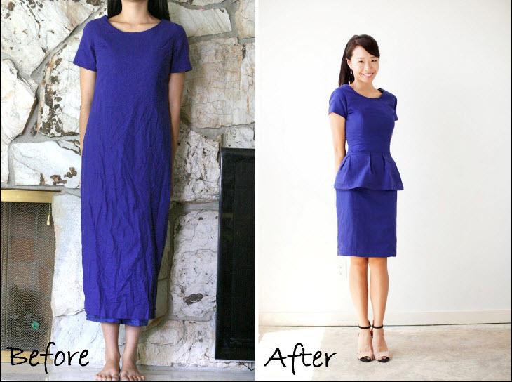 DIY: A Thrift Find Dress To A Peplum Dress