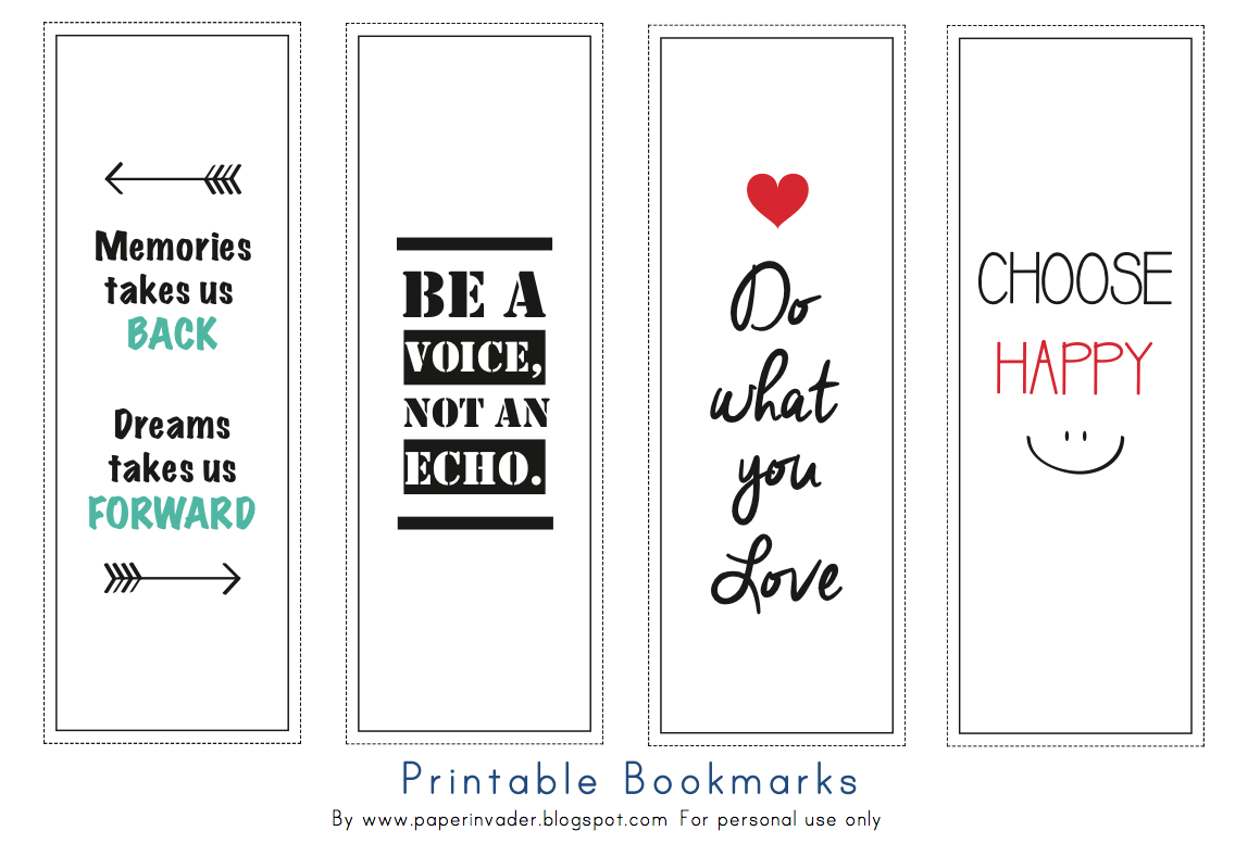 graphic about Free Printable Bookmarks identified as Paper Invader: Cost-free Printable Bookmarks - Quotations