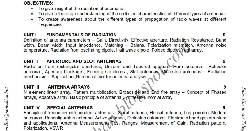 EC6602 Antenna and Wave propagation-Syllabus-Semester VI-ECE