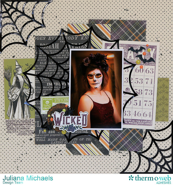 Wicked Halloween Scrapbook Page by Juliana Michaels featuring Therm O Web Decofoil and Spider Webs Free Digital Cut File by Juliana Michael