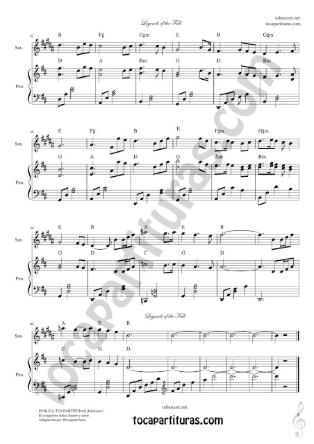 3 Leyendas de Pasión Partitura de Saxofón Alto Legends of the Fall Sheet Music for Alto Saxophone and Baritone Sax