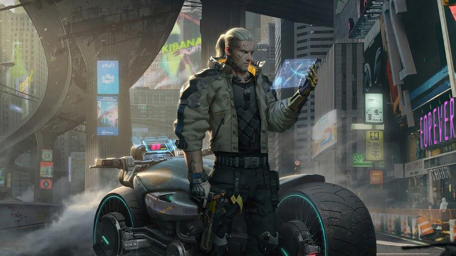Cyberpunk 2077 Geralt Motorcycle 4k Wallpaper 5 1349