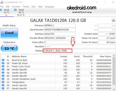 Menampilkan Mengaktifkan fitur TRIM pada SSD di CrystalDiskInfo