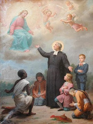 En la imagen San Juan Bautista de la Salle pidiendo a Dios por los niños del mundo.