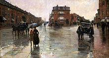 Rainy Day Boston by Childe Hassam who awarded Francis J. Quirk a Tiffany Fellowship