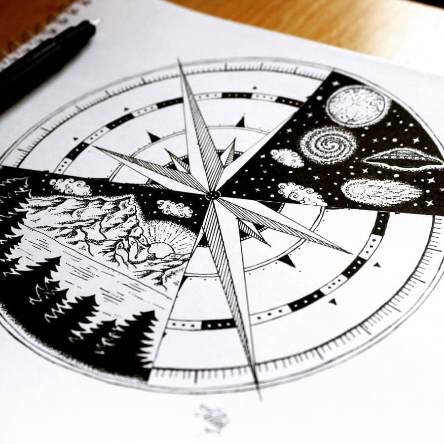 01-Compass-Tímea-Tellér-Ink-Black-and-White-Illustrations-www-designstack-co