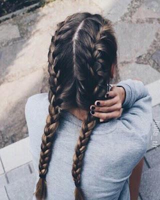 peinado con doble trenza
