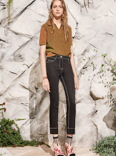 2017 Cruise Collection Carven beige short sleeve top with black jeans with white sticking and sandals over socks