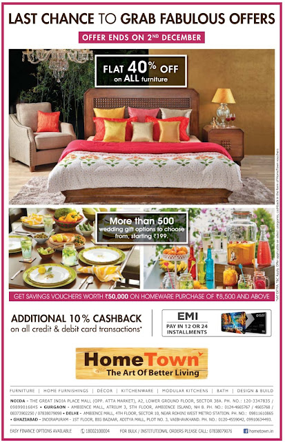 Flat 40% off on all furniture at Home Town | Last Chance to grab fabulous offers | November 2016 Festival discount offer