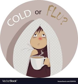 A cartoon image showing kid suffering from common cold