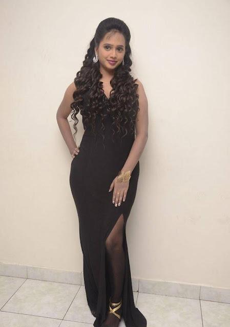 Nakshatra Latest Hot Cleveage Sleveless Black Skirt PhotoShoot Images At Miss South India 2016 Press Meet