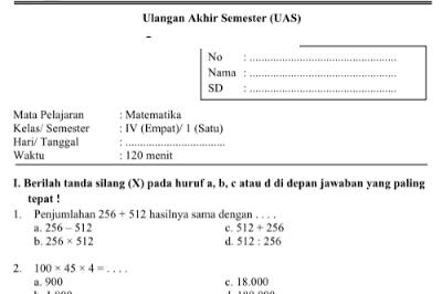 Kumpulan Soal UAS Semester 1 Kelas 4, 5, dan 6