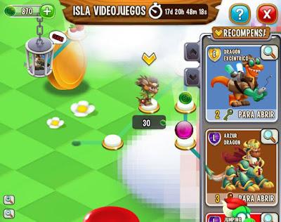 imagen del recorrido de la isla video juego de dragon city