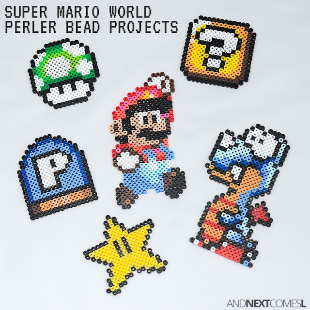 Super Mario World perler bead crafts from And Next Comes L