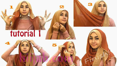 Tutorial Hijab Pesta Dua Warna Modern