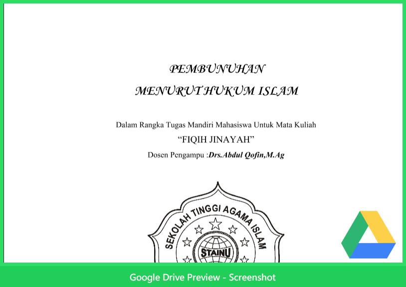 Contoh Makalah Agama Tentang Pembunuhan Menurut Hukum Islam