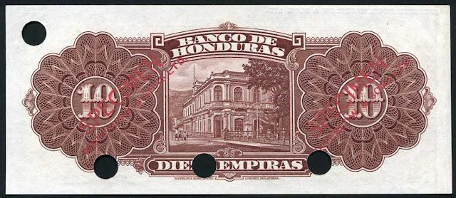 Honduras paper money 10 Lempiras note bill