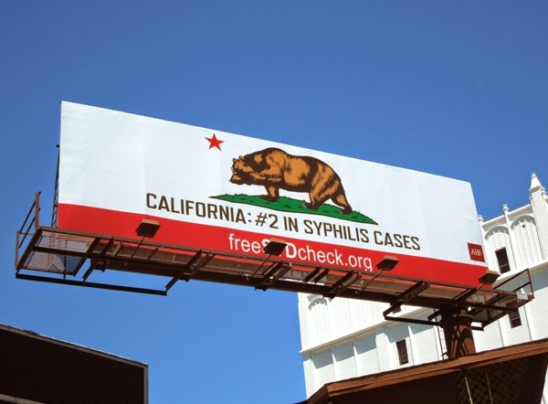 California state flag bear syphilis AHF billboard