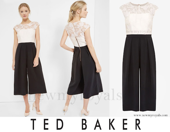 Princess Charlene wore TED BAKER Braylee Burnout cropped jumpsuit