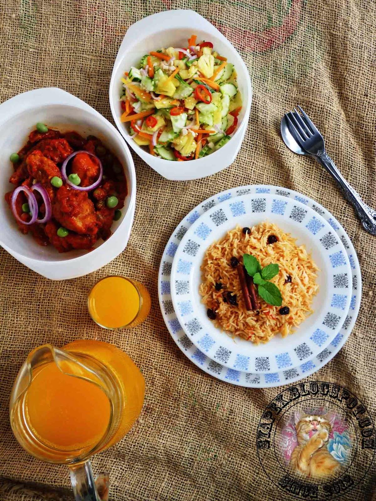 syapex kitchen: Nasi Tomato, Ayam Masak Merah dan Acar Timun Nenas