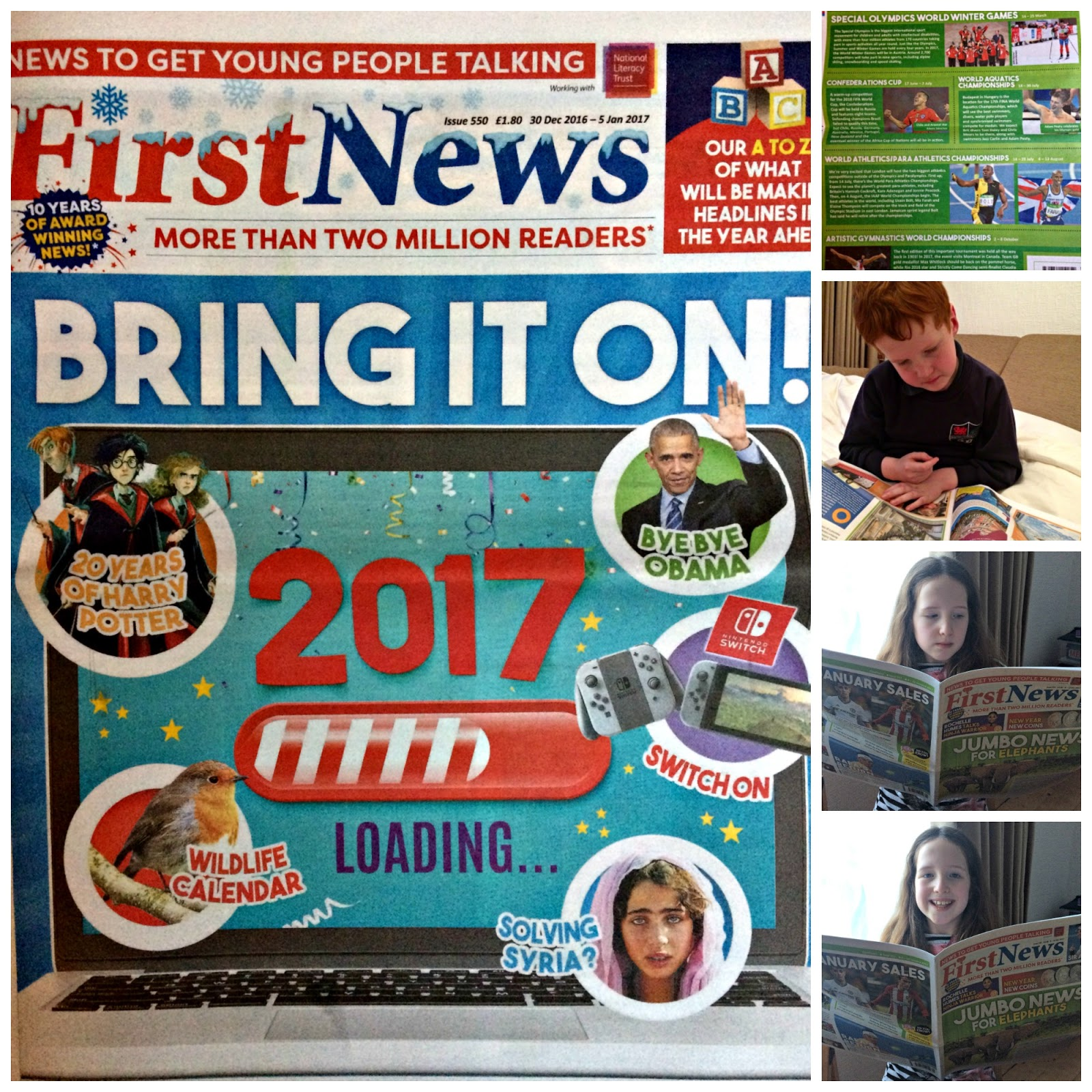 Collage of First News Newspaper with Caitlin & Ieuan reading it