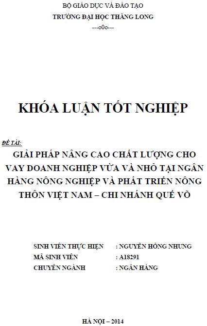 Giải pháp nâng cao chất lượng cho vay doanh nghiệp vừa và nhỏ tại Ngân hàng nông nghiệp và phát triển nông thôn Việt Nam Chi nhánh Quế Võ