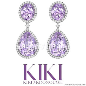 Kate Middleton Jewels Kiki McDonough Lavender Amethyst Pear and Oval Drop Earrings