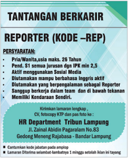 Informasi Lowongan Kerja Terbaru di Tribun Lampung Mei 2018