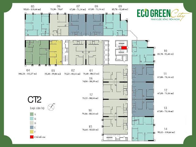 Mặt bằng tòa CT2 Eco green city