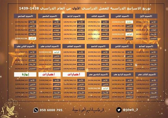#السعودية توزيع الأسابيع الدراسية للفصل الدراسي الأول للعام الدراسي ١٤٣٩/١٤٣٨