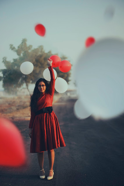 red dress and balloons | Almost Posh