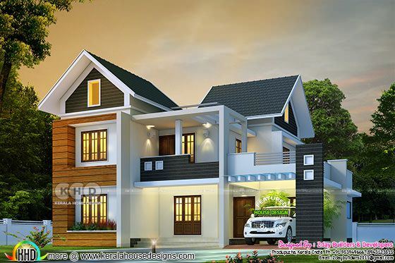 Beautiful mixed roof house rendering