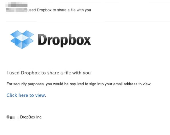 Dropbox phishing email example