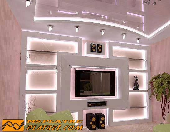 d coration murale tv platre. Black Bedroom Furniture Sets. Home Design Ideas