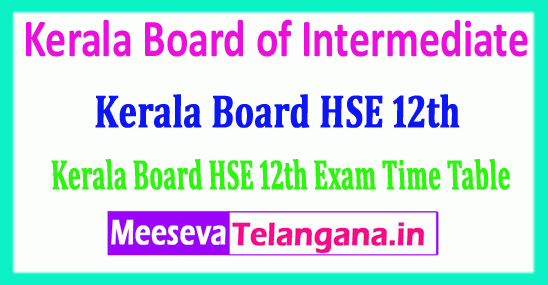 Kerala HSE 12th Time Table 2019 Kerala Board of Intermediate 2019 Kerala 12th Date Sheet Download