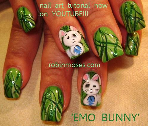Nail Art By Robin Moses Nail Foiling Easter Bunny Sad Bunny