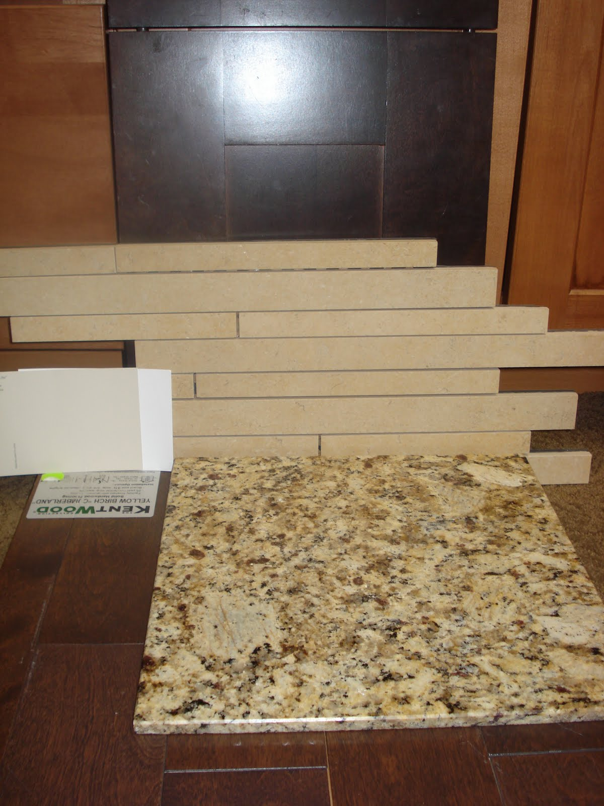 White Subway Tile Backsplash with Granite