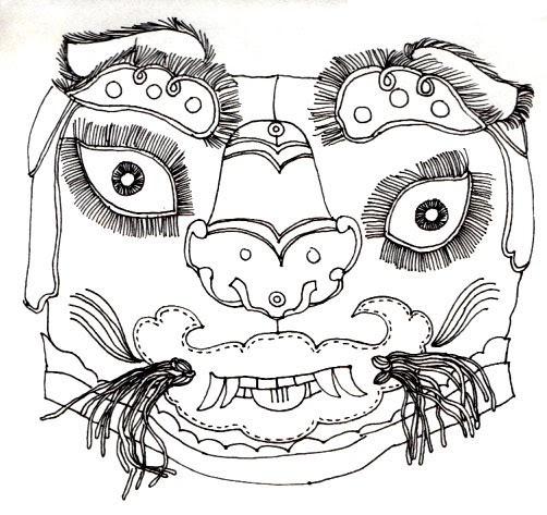 animalsleepstories: antique chinese mask drawing