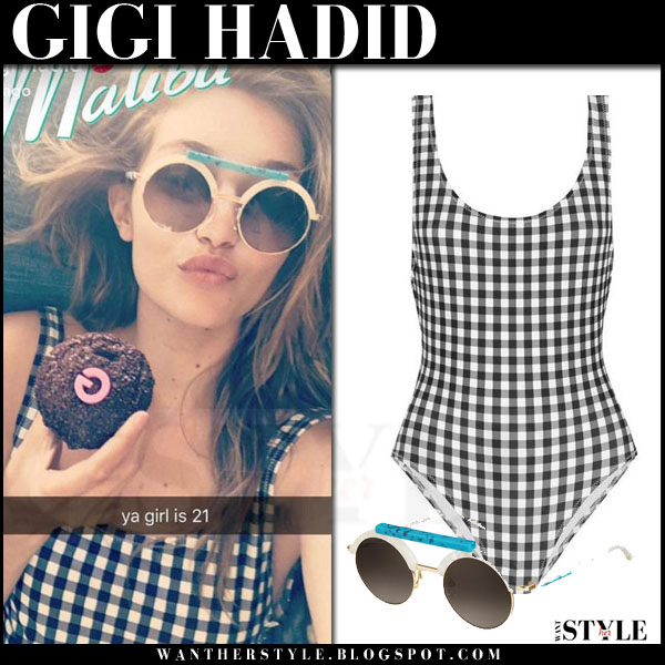 Gigi Hadid in black white gingham solid striped the anne marie swimsuit and round sunglasses oxydo ox what she wore summer beach style